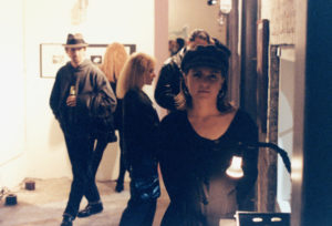 "Elizabeth Montague with art piece ""The Coins"" in 1993."